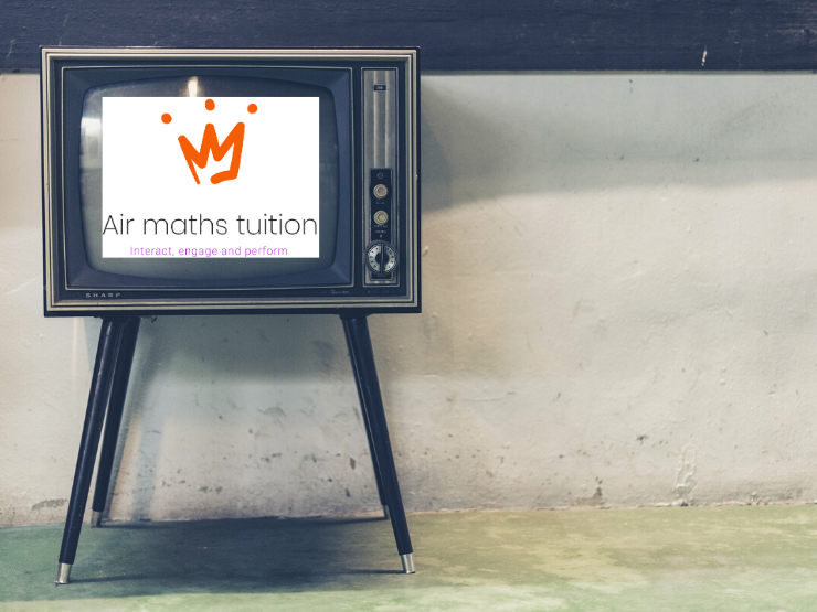 Old school tv with air maths tuition logo
